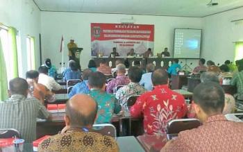 Kepala Kesbang Pol Katingan Achmad Munthu saat menyampaikan laporan, Kamis (31/8/2017).BORNEONEWS/ABDUL GOFUR