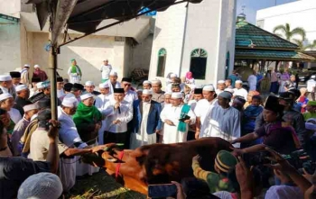 Gubernur Kalteng Sugianto Sabran menyerahkan sapi Kurban kepada pengurus Nurul Islam, Palangka Raya, Jumat (1/9/2017)