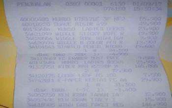 Bukti struk pembelian win gas paket di Hypermart Pangkalan Bun