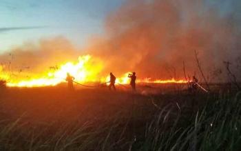 Kebakaran lahan yang sempat terjadi di Kecamatan Parenggean.