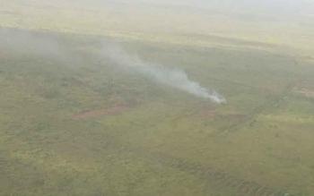 Sebuah titim kebakaran lahan yang terjadi di Kabupaten Kotawaringin Timur (Kotim) kemaren, yang diambil dari pesawat.