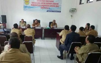 Kegiatan rapat dan sosialisasi kerja sama daerah di ruang rapat kantor Badan Pengelola Aset dan Keuangan Kabupaten Gumas, Selasa (12/9/2017)