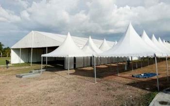Tampak stand yang tengah disiapkan untuk Lamandau Expo 2017.