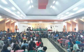 Tampak suasana di GPU Lantang Torang saat berlangsungnya lomba kategori Paduan Suara Anak (PSA), Senin (18/9/2017).