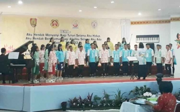 Kontingen Pesparawi saat tampil di GPU Lantang Torang, belum lama ini