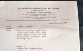 Surat peromohonan RDP dari Aspangkal Kabupaten Kotim kepada DPRD