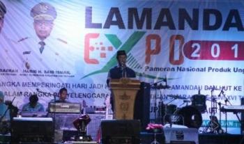 Wabup Lamandau, Drs. H. Sugiyarto, saat secara resmi menutup Gelaran Lamandau Expo 2017, Rabu (20/9/2017) malam.