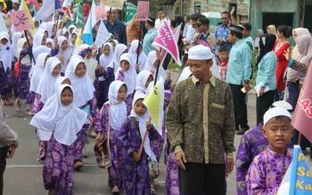 Suasana Pawai Taaruf menyambut Tahun Baru Islam di Nanga Bulik, Lamandau, Kamis (21/9/2017).