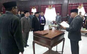 Marukan melantik dua pejabat tinggi pratama, di Aula Setda Lamandau, Jumat (22/9/2017) siang.