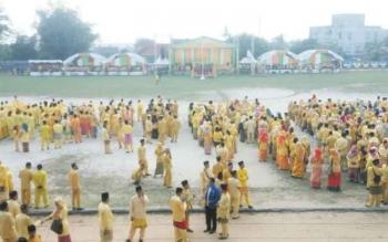 Lapangan Sampuraga Pangkalan Bun sesaat sebelum upacara HUT ke 58 Kabupaten Kobar dimulai, Selasa (3/10/2017)