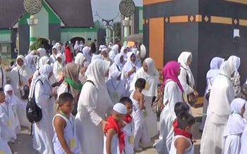 Ratusan anak TK saat mengikuti kegiatan manasik haji di Ilamic Center.