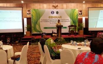 Kepala Perwakilan BI Kalteng Wuryanto saat menyampaikan sambutan dalam Seminar Bersama Pengadilan Tinggi Agama terkait Pengembangan Ekonomi Syariah dan Sosialisasi Perma Nomor 14 Tahun 2016 tentang Tata Cara Penyelesaian Perkara Syariah, Kamis (5/10/2017)