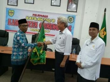 Seremonial pelepasan kafilah FSQ Kabupaten Gunung Mas di ruang rapat lantai I kantor bupati, Rabu (11/10/2017).