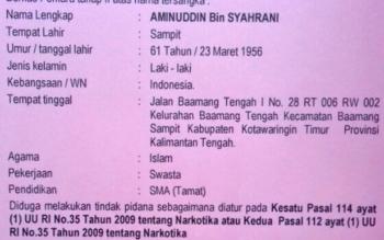 Identitas Aminudin, ketua LSM NCW yang terjerat kasus sabu.
