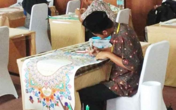 Inilah Kaligrafi Mushaf Alquran karya Syafril di Pekan Keterampilan dan Seni Pendidikan Agama Islam tingkat nasional di Provinsi Aceh.