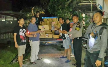 Aparat Kepolisian Resor Barito Selatan mengamankan ratusan kaleng lem fox dari rumah tersangka Supriyadi, Minggu (15/10/2017) sekitar pukul 21.50 WIB.