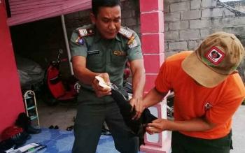Komandan BKSDA Pos Jaga Sampit Muriansyah saat menerima penyerahan burung Tingang dari seorang warga.