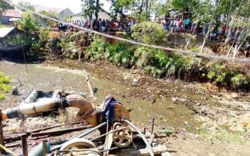 Kolam yang diduga tempat buaya muncul di Jalan Tamanggung Panji III, Kelurahan Kuala Kurun, Kecamatan Kurun, Kabupaten Gunung Mas.