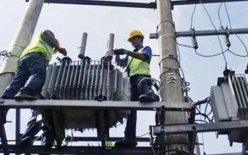 Petugas PLN saat memperbaiki jaringan listrik.