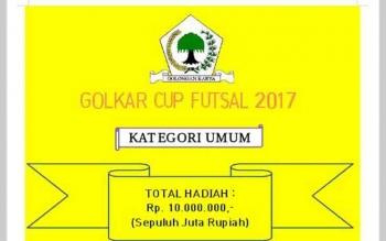 Info lomba futsal yang akan digelar DPD Partai Golkar Kabupaten Gunung Mas.