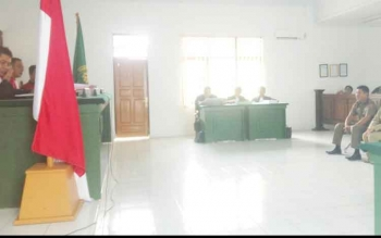 suasana persidangan 4 ASN Kobar di PN Pangkalan Bun Senin (23/10/2017)