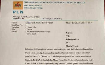 Surat pemberitahuan pemadaman listrik yang dilayangkan oleh PT PLN Rayon Muara Teweh