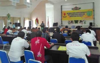 Kegiatan Musyawarah Olahraga Kabupaten (Musorkab) Pulang Pisau yang digelar dia aula Bappedalitbang Kabupaten Pulang Pisau, Jumat (27/10/2017).