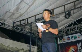 Bupati Barito Utara, Nadalsyah saat menyampaikan sambuatan pada acara Batara Rock Party 3rd Edition