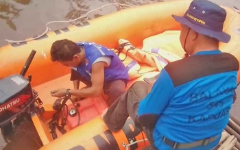 Prosesi pencarian Siti (80) hilang di Desa Pangkalan Sari.