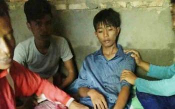 Kondisi Nurahman siswa SMKN 1 Mendawai yang ditemukan selamat, Sabtu (4/11/2017).