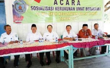 Sejumlah narasumber dari lintas instansi saat mengisi sosialisasi kerukunan umat beragama di Kecamatan Bulik Timur, beberapa waktu lalu.