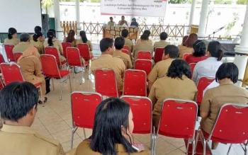 Lokakarya Refleksi dan Pembelajaran Pelaksanaan Forum Koordinasi Tanggung Jawab Sosial dan Lingkungan Perusahan yang dilaksanakan di pandopo rumah jabatan Wakil Bupati Gunung Mas, Selasa (7/11/2017).