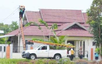 Sejumlah petugas perbaikan jaringan listrik dari PLN Rayon Kuala Pembuang saat tengah memperbaiki salah satu aliran listrik pada tiang PLN yang mengalami kerusakan.