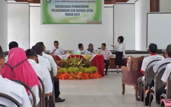 Pelaksanaan sosialisasi pemantapan pelaksanaaan CSR kepada desa tahun 2017, di Gedung Dharma Wanita, Rabu (8/11/2017