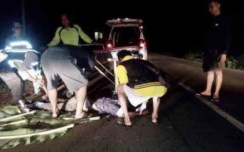 Aparat kepolisian bersama tim medis dan warga saat melakukan evakuasi terhadap jenazah korban yang tergeletak di tepi jalan dengan kondisi kepala pecah, Kamis (9/11/2017)