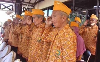 Para Legiun Veteran di Kotim saat mengikuti Hari Pahlawan, Jumat (10/11/2017).