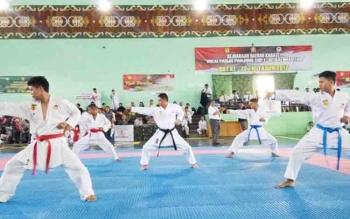 Danrem 102 Panju Panjung, Kolonel Arm M Naudi Nurdika (tengah) memperagakan atraksinya saat pembukaan Kejurda Karate seluruh Kalimantan di Kota Palangka Raya, Jumat (10/11/2017)