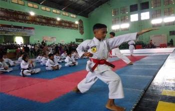 Seorang atlet karate sedang unjuk kebolehan diacara pembukaan Kejurda Karate Inkai Panju Panjung Cup 1 seluruh Kalimantan yang digelar di Kota Palangka Raya, Jumat (10/11/2017)