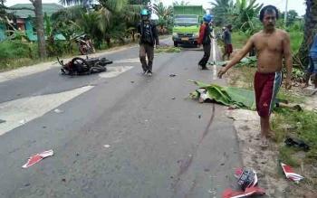 Lokasi kecelakaan maut di Jalan HM Arsyad km 16, Desa Bapanggang, Kecamatan Mentawa Baru Ketapang.