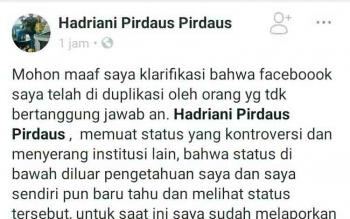 Postingan akun Hadriani Pirdaus yang mencoba membuat klarifikasi di linimasa Facebook-nya