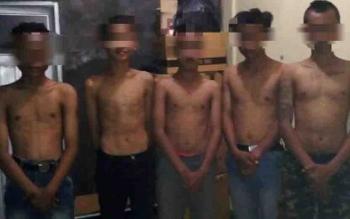 Lima pelajar SMP yang diamankan Polsek Ketapang, setelah terlibat tawuran.