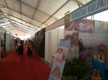 Salah satu stan kosong di Expo Kedaulatan Pangan dan Energi melalui Produk Unggulan Daerah yang diselenggarakan Pemerintah Provinsi Kalimantan Tengah di Arena Pameran Temanggung Tilung, Kota Palangka Raya, 18-21 November 2017.