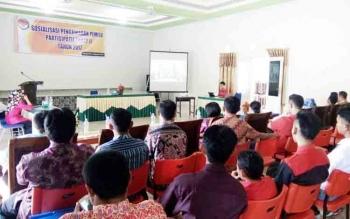 Suasana sosialisasi pemilu partisipatif yang digelar Panwaslu Lamandau di Aula Hotel Puteri Tunggal, Selasa (21/11/2017)