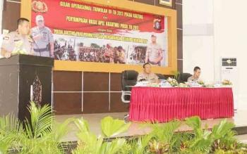 Kapolda Kalteng Anang Revandoko saat memberikan arahan pada Gelar Operasi (GO) Triwulan III, Selasa (21/11/2017)