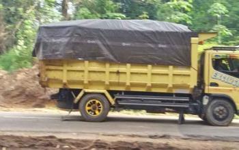 Truk pengangkut batu bara melintas di jalan negara yang menghubungkan Desa Dayu, Kecamatan Krusen Janang dengan Desa Jaweten, Kecamatan Dusun Timur, Kabupaten Barito Timur, Jumat (24/11/2017).