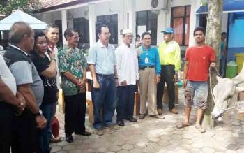 Kepala Dinas Pendidikan Kabupaten Kapuas Ilham Anwar saat melihat sapi yang akan disembelih konsumsi pada acara syukuran.