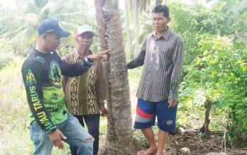 Kepala Desa Pulau Mambulau Alfiannor saat melihat-lihat infrastruktur jalan poros itu dengan ditemani Ketua RT 8, Suryanto, Senin (27/11/2017).