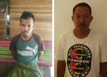 Dua pelaku terduga pencuri onderdil excavator diamankan di Polsek Dusun Selatan, Kabupaten Barito Selatan, Kamis (30/11/2017).