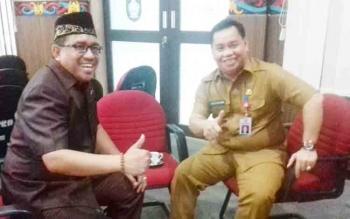 Ketua Tim Anggaran Eksekutif, H Halikinnor (kanan) saat bersama Wakil Ketua DPRD H Supriadi.