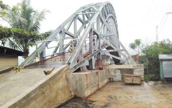 Jembatan Cukai Pulang Pisau yang hampir rampung pengerjaannya.